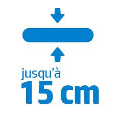 jusqu'à 15 cm d'épaisseur